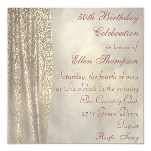 Elegant Gold Lace Birthday Invitation