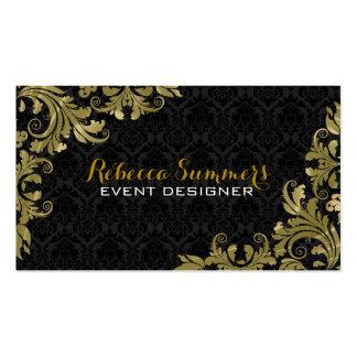 Elegant Gold Lace Black Damasks Double-Sided Standard Business Cards (Pack Of 100)