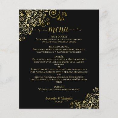 Elegant Gold Lace on Black Budget Wedding Menu