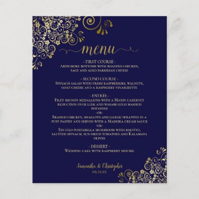 Elegant Gold Lace on Navy Blue Budget Wedding Menu