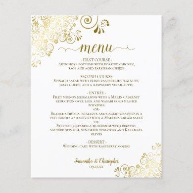 Elegant Gold Lace on White Budget Wedding Menu