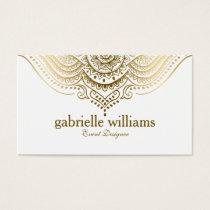 Elegant Gold Lace Paisley Mandala Business Card
