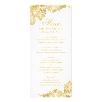 Elegant Gold Lace Pattern Wedding Menu