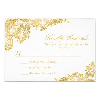 Elegant Gold Lace Wedding RSVP Card