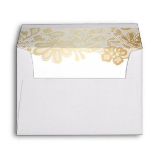 Elegant Gold Lace White Wedding Envelope