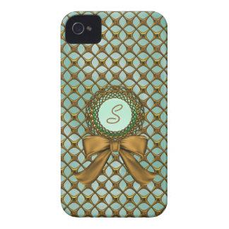 Elegant Gold Lattice Look with Monogram iPhone 4 Cover
