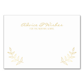 Elegant Gold Laurels Wedding Advice and Wishes Card