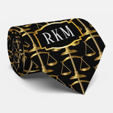 Lawyer Themed Elegant Gold Law Monogram Scales of Justice Tie