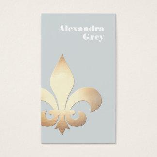 Elegant Gold Leaf Fleur de Lis Light Grey Business Card