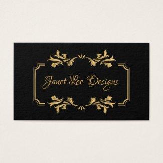 Elegant Gold Leaf Frame Business Card