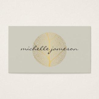 Elegant Gold Leaf Logo on Light Tan Business Card