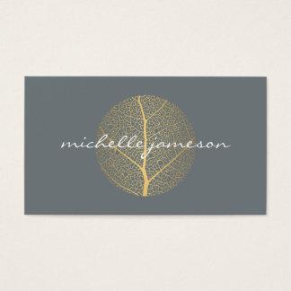 Elegant Gold Leaf Logo on Slate Business Card