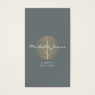 Elegant Gold Leaf Logo on Slate II Business Card