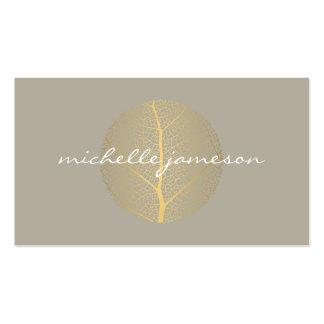 Elegant Gold Leaf Logo on Tan Business Card Templates