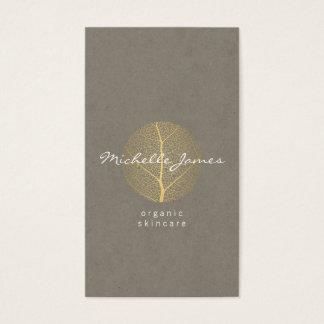 Elegant Gold Leaf Logo on Tan Cardboard Look Business Card