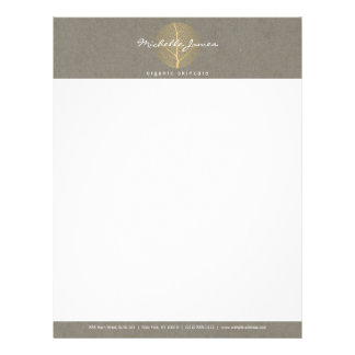 Elegant Gold Leaf Logo on Tan Cardboard Look Letterhead