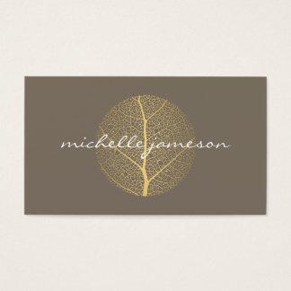 Elegant Gold Leaf Logo on Taupe Business Card