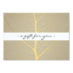 ELEGANT GOLD LEAF TREE PATTERN Gift Certificate 4.5x6.25 Paper Invitation Card