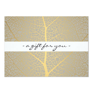 ELEGANT GOLD LEAF TREE PATTERN Gift Certificate 4.5x6.25 Paper Invitation Card