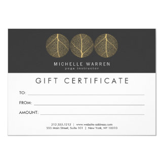Elegant Gold Leaf Trio Logo Gift Certificate Card