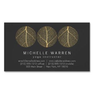 Elegant Gold Leaf Trio Logo on Dark Gray Business Card Magnet