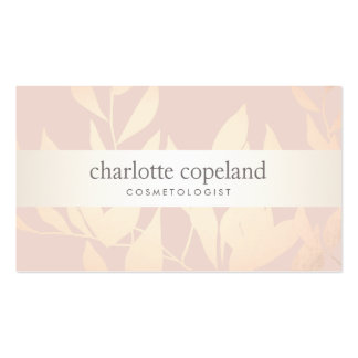 Elegant Gold Leaves Beauty Salon & Spa Muted Pink Business Card