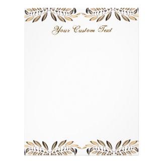 Elegant Gold Leaves Border Custom Paper Personalized Letterhead