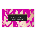 Elegant Gold Leaves Magenta Beauty Consultant Business Card