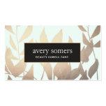 Elegant Gold Leaves Modern Beauty Salon Business Card Templates