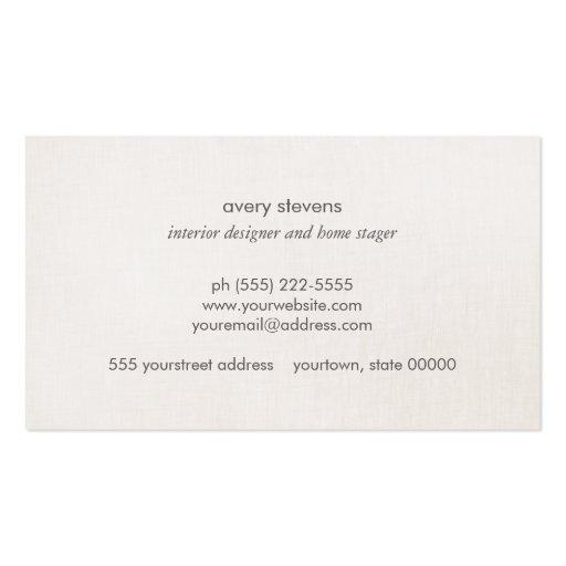 Elegant Gold Leaves Modern Interior Design Beige Business Cards (back side)