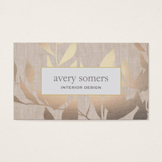 Business Cards Interior Design elegant gold leaves modern interior design beige business card