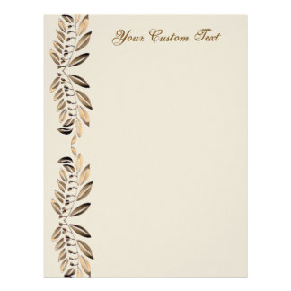 Elegant Gold Leaves On Vines Border Custom Paper