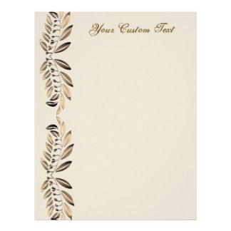 Elegant Gold Leaves On Vines Border Custom Paper Custom Letterhead