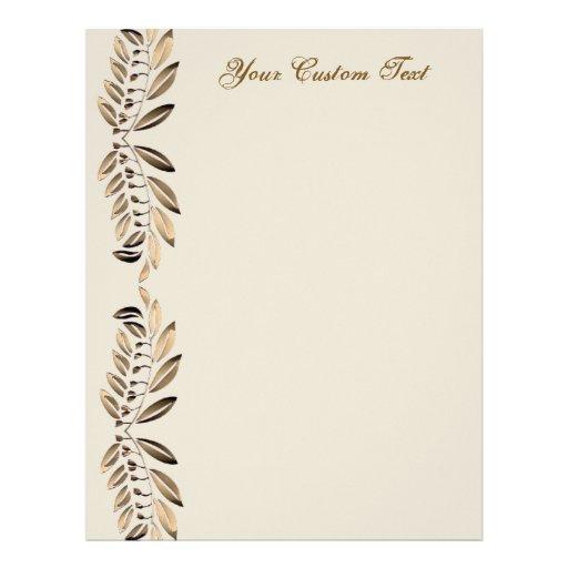Elegant Gold Leaves On Vines Border Custom Paper