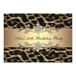 Elegant Gold Leopard 40th Birthday Party Personalized Announcement