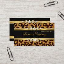 Elegant Gold Leopard Black Animal Print Business Card