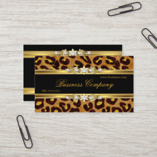Lovely Elegant Gold Leopard Black Animal Print Business Card