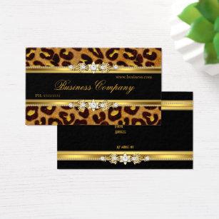 Animal print business cards templates zazzle elegant gold leopard black animal print business card colourmoves Images