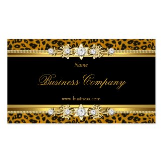 Elegant Gold Leopard Black The Original 3 Business Card Template