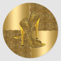Elegant Gold Leopard High Heel Shoes Animal Classic Round Sticker
