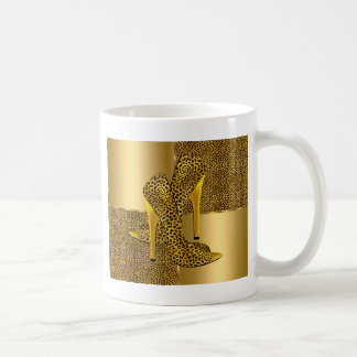 Elegant Gold Leopard High Heel Shoes Animal Coffee Mug