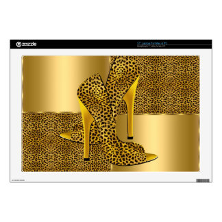 "Elegant Gold Leopard High Heel Shoes Animal Decal For 17"" Laptop"