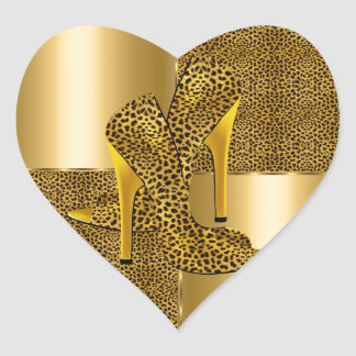 Elegant Gold Leopard High Heel Shoes Animal Heart Sticker