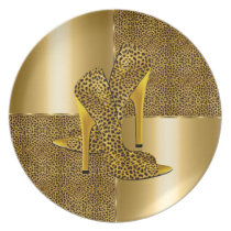 Elegant Gold Leopard High Heel Shoes Animal Melamine Plate