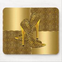 Elegant Gold Leopard High Heel Shoes Animal