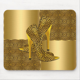 Elegant Gold Leopard High Heel Shoes Animal Mouse Pad