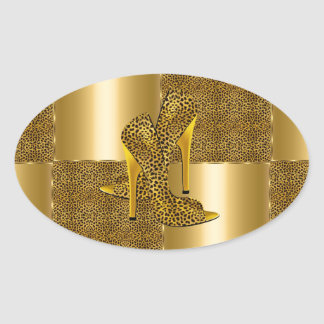Elegant Gold Leopard High Heel Shoes Animal Oval Sticker