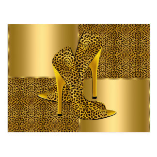 Elegant Gold Leopard High Heel Shoes Animal Postcard