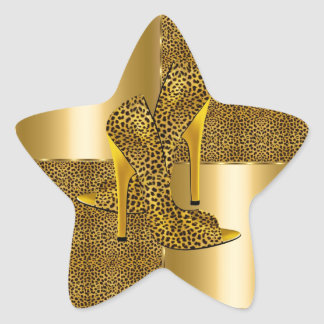 Elegant Gold Leopard High Heel Shoes Animal Star Sticker