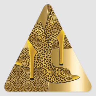 Elegant Gold Leopard High Heel Shoes Animal Triangle Sticker